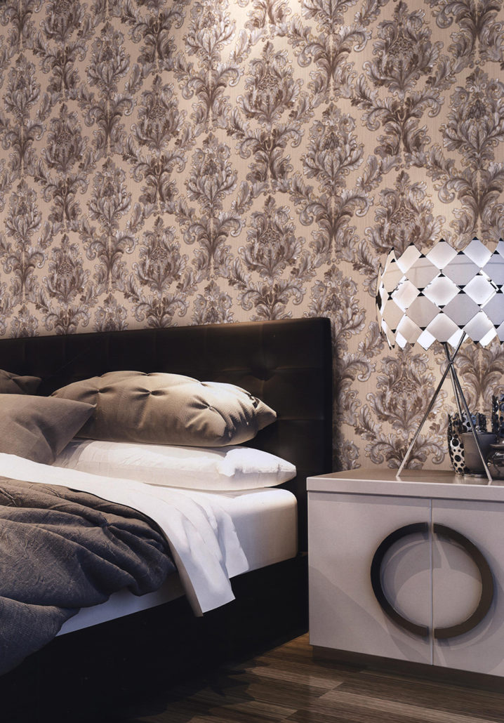 Tapet Dormitor Elegant Maro Cu Model Floral Auriu Villa