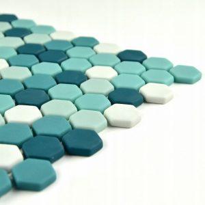 Mozaic hexagonal de sticla satinata turquoise A-MBO06-XX-006