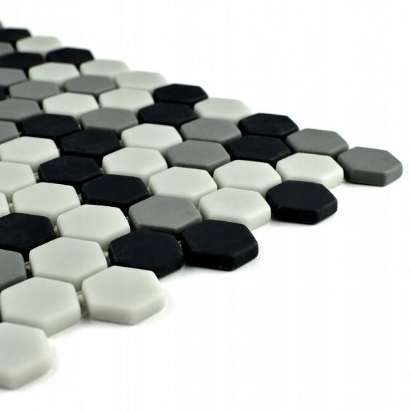 Mozaic hexagonal sticla alb negru satinat A-MBO06-XX-004